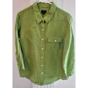Talbots, Women's Greens, Pure Irish Linen Top  L